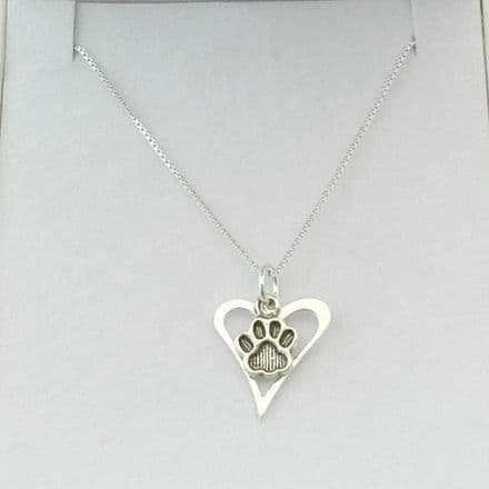 Silver Paw Over Heart Memorial Necklace