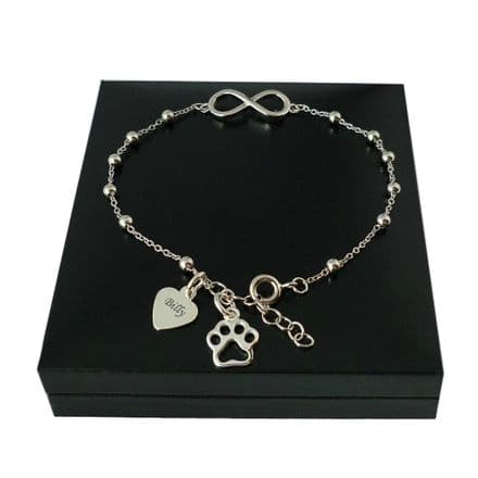 Sterling Silver Bracelet with Pets Name and Paw Charm