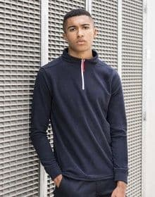1/4 ZIP L/SLEEVED PIPED FLEECE NAVY/WHITE/RED  XL'