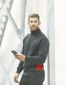 1/4 ZIP SWEATSHIRT BLACK/RED  M'