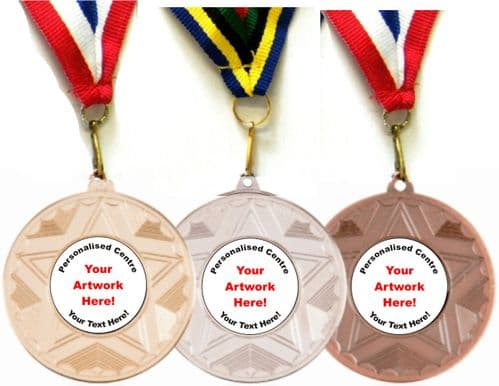 SPECIAL OFFER! 50mm METAL MEDAL WITH RIBBON AND CENTRE MM1050-1