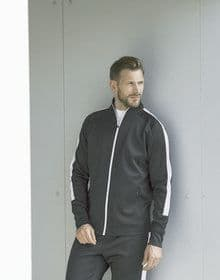 ADULTS KNITTED TRACKSUIT TOP BLACK/WHITE  XS'