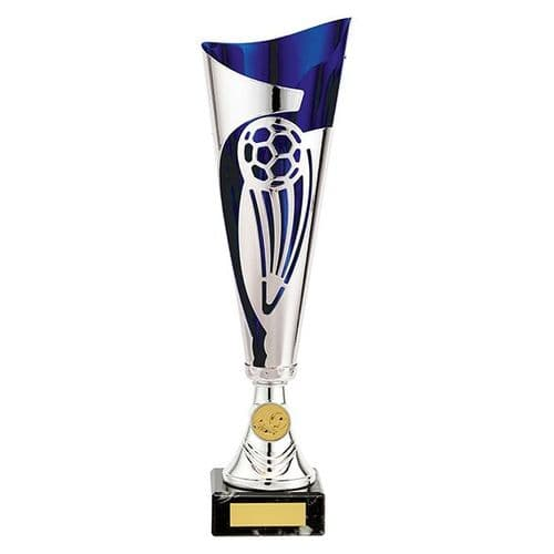 Champions Football Cup Silver & Blue 340mm