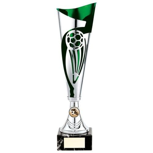 Champions Football Cup Silver & Green 360mm