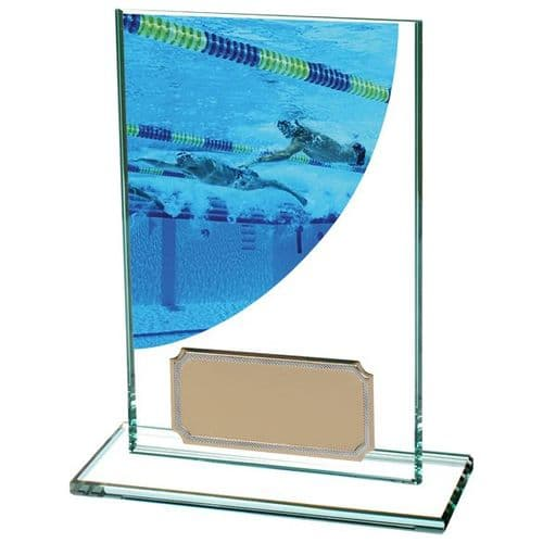 Colour Curve Swimming Jade Glass Award 125mm