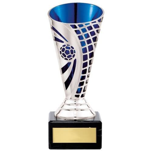 Defender Football Trophy Cup Silver & Blue 150mm