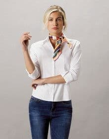 LADIES 3/4 SLEEVE OXFORD SHIRT WHITE 14'