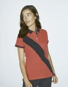 LADIES DIAGN STRIP HOUSE POLO NAVY/RED  XS'
