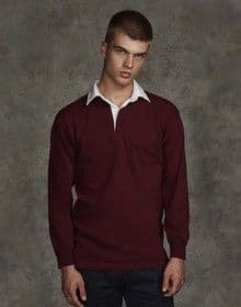LONG SLEEVE PLAIN  RUGBY SHIRT DEEP BURGUNDY/WHITE  XL'
