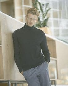 MENS ROLL NECK JUMPER BLACK  M'