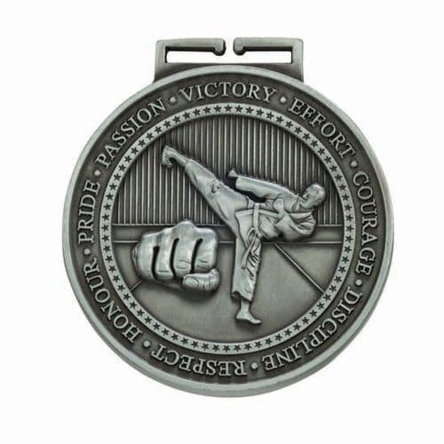 Olympia Karate Medal Antique Silver 70mm
