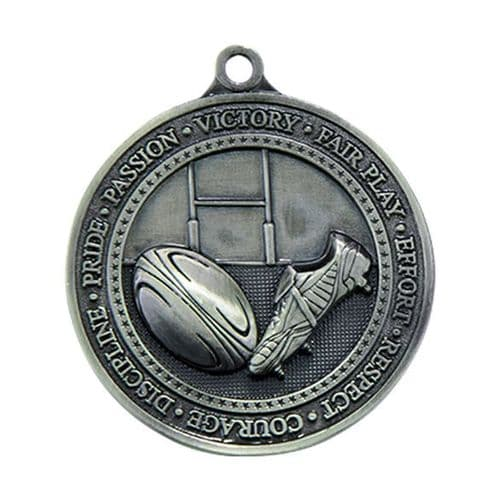 Olympia Rugby Medal Antique Silver 60mm