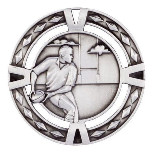 V-Tech Series Medal - Rugby Silver 60mm