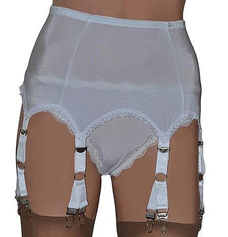 12 Clip 6 Strap (V-Clip) Suspender Belt in White or Black
