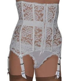 6 Strap Boned Lace Waspie Suspender Belt in Black or White