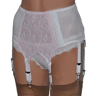 Retro Style 6 Strap Suspender Belt in Black with Red or White with Pink