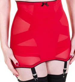 6 Strap Longline Mesh Girdle  in Black or Red