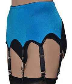 6 Strap Suspender Belt in Peacock Blue with Black Trims