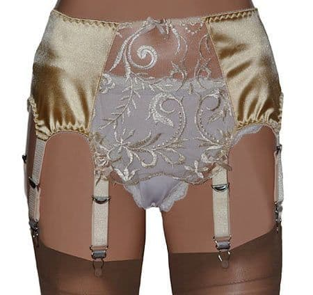 8 Strap Suspender Belts in Satin with Lace Front Panels, Gold or Pink