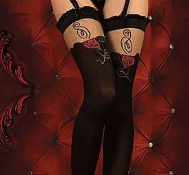 Ballerina 342 Luxury 40 Den Holdup Stockings in Black with Red Rose