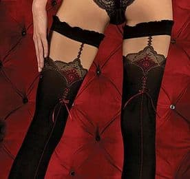 Ballerina 346 Luxury Holdup Stockings in Black with Red Seam