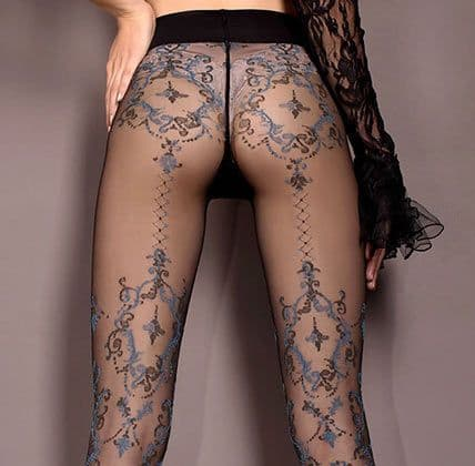 Ballerina 412 Patterned Tights in Black with Blue & Grey Pattern