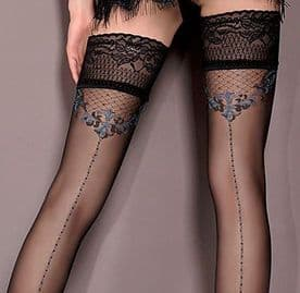 Ballerina 415 Lace Top Hold-up Stockings with Seams