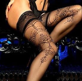 Ballerina Lace Top Patterned Hold-ups with Silver Lurex