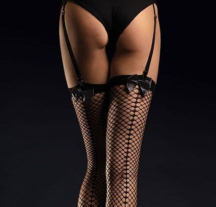 Fiore Satine Black Fishnet Stockings with Satin Bows