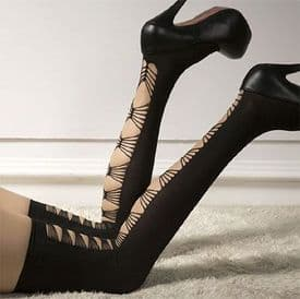 Black Opaque Stocking with Criss-Cross Detail to Back