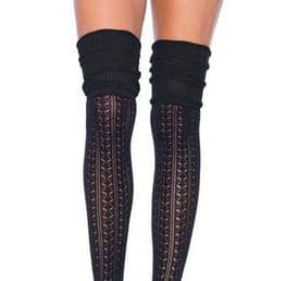 Black Over the Knee Scrunch Socks