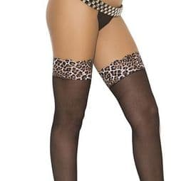 Black Stockings with Leopard Print Top