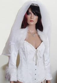 Bridal Jacket with Marabou Fur Trim