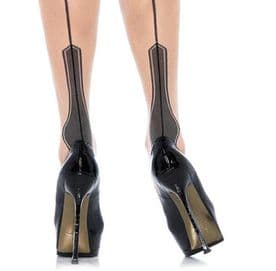 Contrast Stockings with Seams and Havana Heel in  Nude/Black