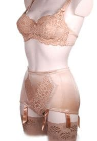 Control Panty Girdle in Bronze with 6 Suspender Straps