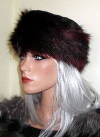Faux Fox Fur Pillbox Hat in Black with Red Tips