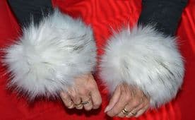 Faux Fur Wrist Warmers in White Fur with Black Tips