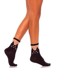 Leg Avenue 3937 Opaque Cat Ankle Socks