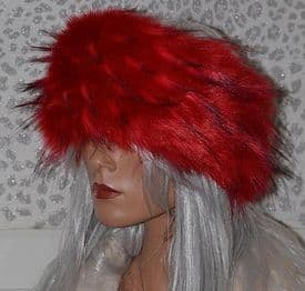 Long Haired Red Fur Headband Hat