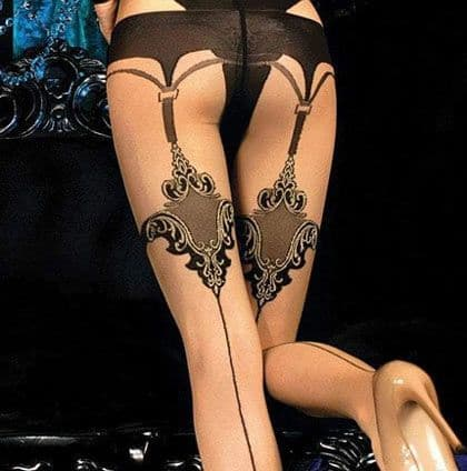 Nude & Black Tights with Seams from Luxury Brand Ballerina