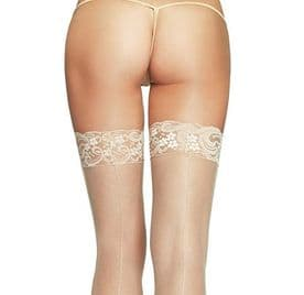 Nude Lace Top Seamed Stockings