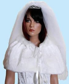Pure White Fur Bridal Cape