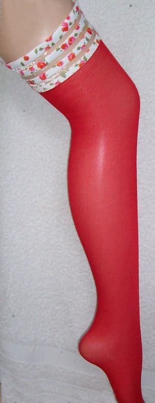 Sheer Red Stockings with Rose Patterned Top