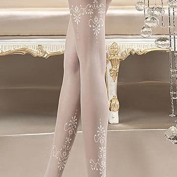 Ballerina 118 White Patterned Bridal Tights