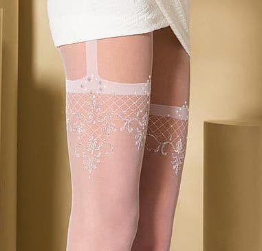 White patterned Suspender Tights Ideal Bridal Tights