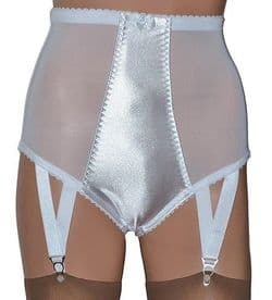 White Satin and Power Mesh Panty Girdle with Suspenders