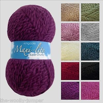 1/2 PRICE - KING COLE MAXI-LITE SUPER CHUNKY KNITTING YARN - VARIOUS SHADES