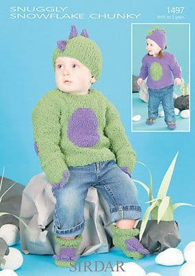 1497 - SIRDAR SNUGGLY SNOWFLAKE CHUNKY SWEATER SET KNITTING PATTERN - 0 TO 2 YEARS