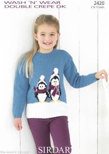 2420 - SIRDAR WASH 'N' WEAR DK SWEATER KNITTING PATTERN - TO FIT 2 TO 13 YEARS