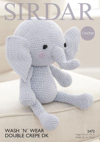 2472 SIRDAR WASH 'N' WEAR DOUBLE CREPE DK ELEPHANT TOY CROCHET PATTERN